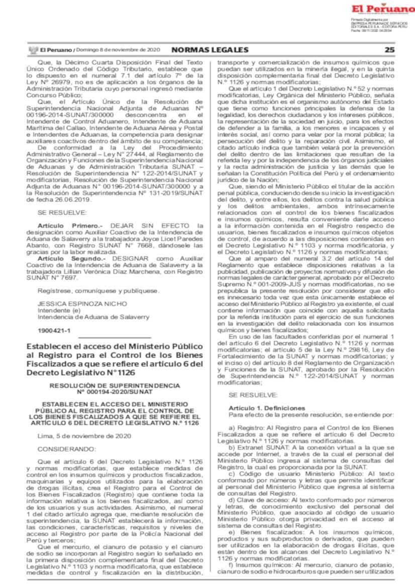Resolución 000194-2020/SUNAT