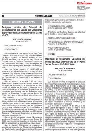 Resolución Ministerial N°003-2021-eF/15