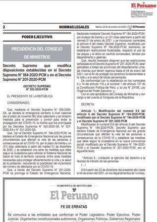 Decreto Supremo N°202-2020-PCM