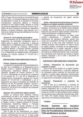 Decreto Supremo N°003-2021-SA