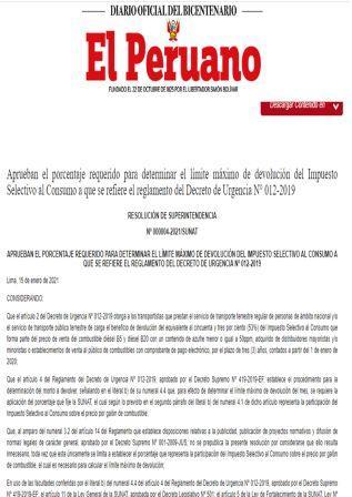 Decreto De Urgencia 004-2021-PCM
