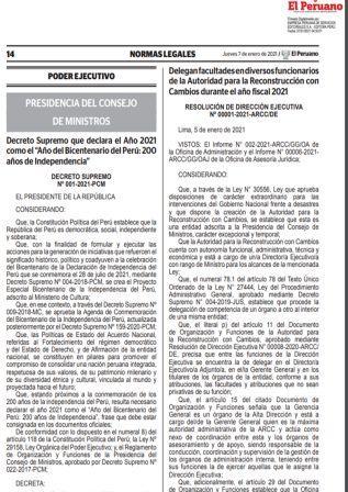 Decreto Supremo 001-2021-PCM