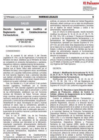 Decreto Supremo N°004-2021-SA