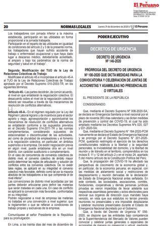 Decreto De Urgencia N°146-2020