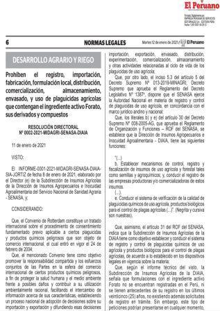 Resolución Directoral N°0002-2021-MIDAGRI-SENASA-DIAIA