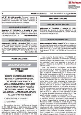 Decreto De Urgencia 140-2020