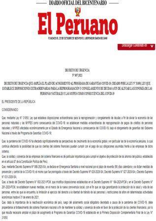 Decreto De Urgencia 007-2021