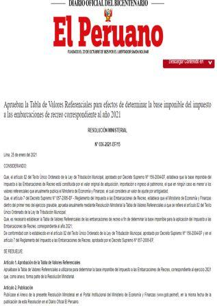 Resolución Ministerial 036-2021-EF/15