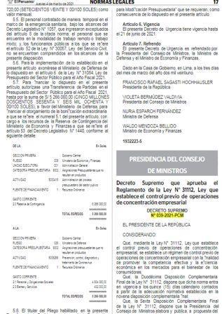 Decreto Supremo N°039-2021-PCM