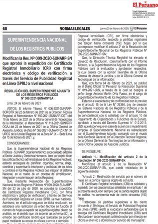 Resolución De Superintendencia N°008-2021-SUNARP