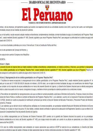 Decreto De Urgencia N°026-2021