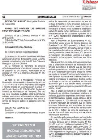 Resolución De Superintendencia N°000031-2021/SUNAT