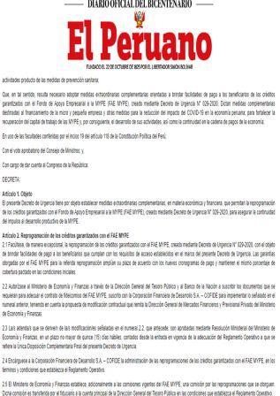 Decreto De Urgencia N°029-2021