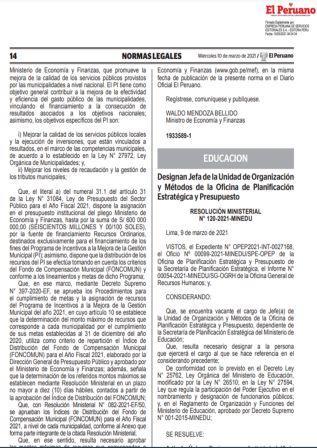 Resolución Ministerial N°121-2021-MINEDU