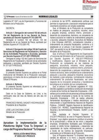 Resolución Ministerial N°00053-2021-PRODUCE