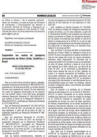 Resolución Ministerial N°216-2021-MTC/01