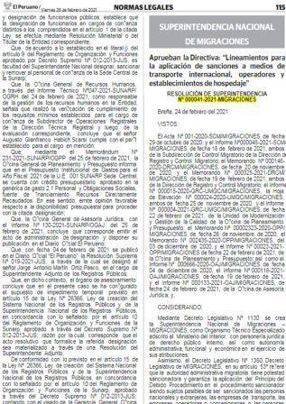 Resolución De Superintendencia N°000041-2021-MIGRACIONES