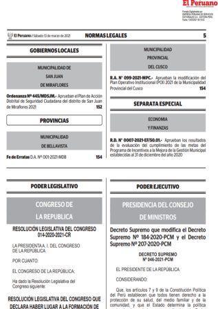 Decreto Supremo N°046-2021-PCM