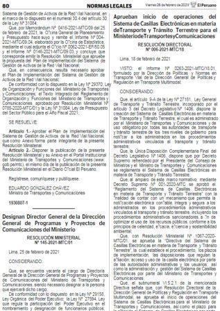 Resolución Directoral N°006-2021-MTC/18