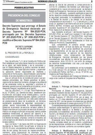 Decreto SupremoN°036-2021-PCM