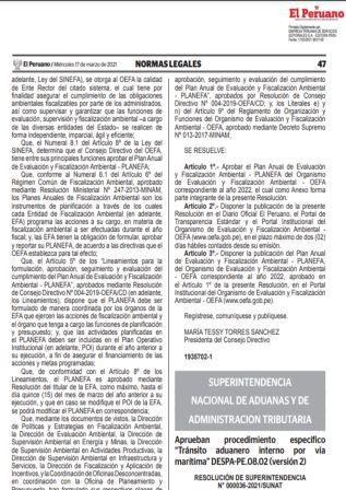 Resolución De Superintendencia N°000036-2021/SUNAT