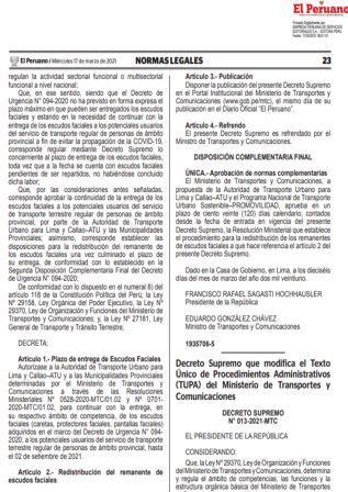 Decreto Supremo N°013-2021-MTC