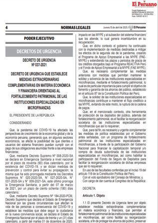 Decreto De Urgencia N°037-2021
