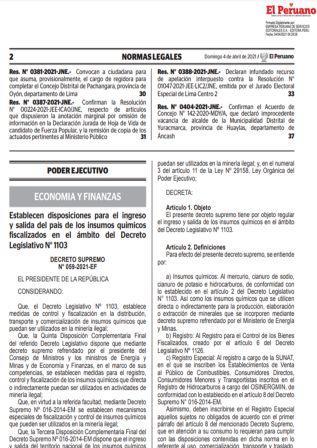 Decreto Supremo N°059-2021-EF