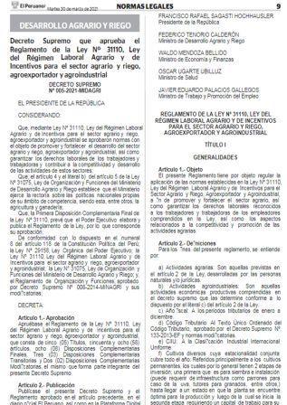 Decreto Supremo N°005-2021-MIDAGRI