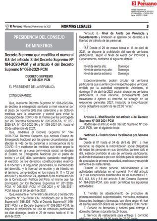 Decreto Supremo N°059-2021-PCM