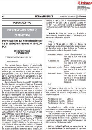Decreto Supremo N°070-2021-PCM