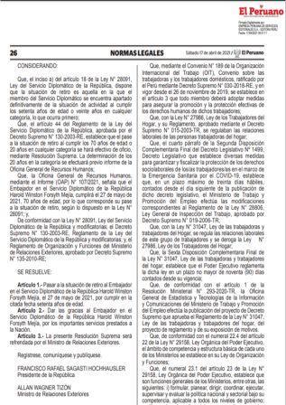 Decreto Supremo N°009-2021-TR