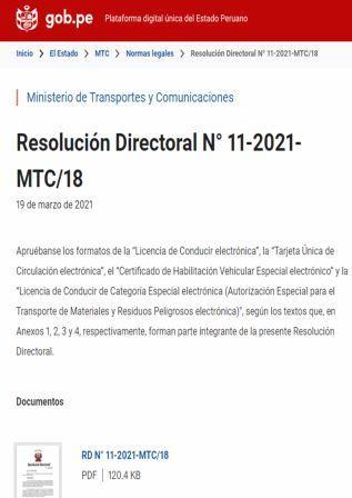 Resolución Directoral N°11-2021-MTC/18