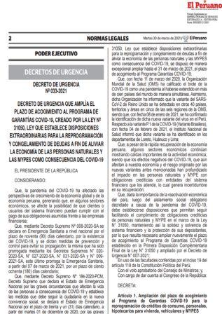 Decreto De Urgencia N°033-2021