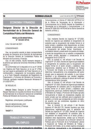 Resolución Ministerial N°063-2021-TR