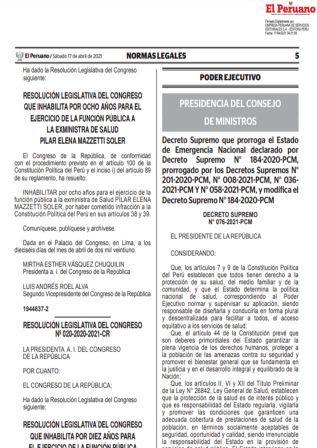 Decreto Supremo N°076-2021-PCM