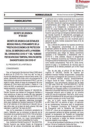 Decreto De Urgencia N°034-2021