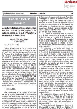 Resolución Ministerial N°068-2021-TR