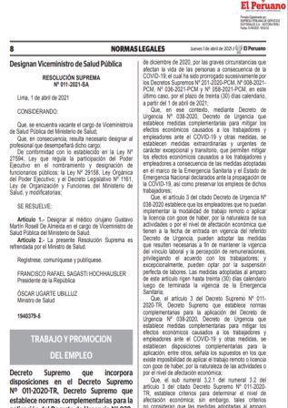 Decreto Supremo 007-2021-TR