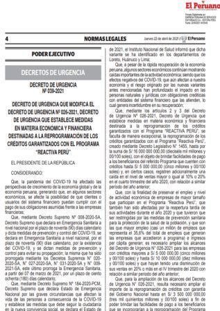 Decreto De Urgencia N°039-2021