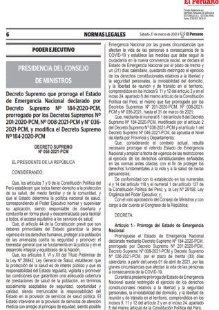 Decreto Supremo N°058-2021-PCM