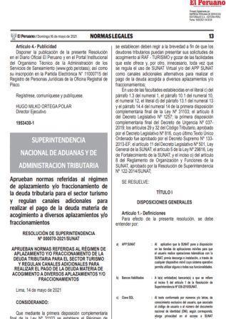 ResoluciónN°000070-2021/SUNAT