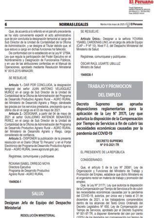 Decreto Supremo N°010-2021-TR