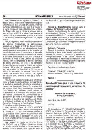 Resolución Ministerial N°142-2021-VIVIENDA