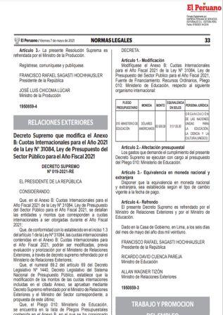 Resolución Ministerial N°077-2021-TR