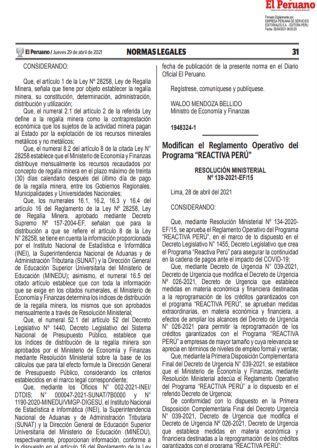 Resolución Ministerial N°139-2021-EF/15