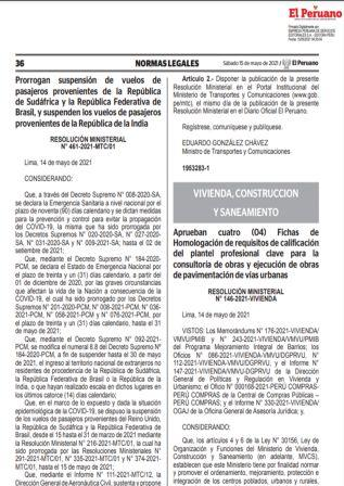 Resolución Ministerial N°461-2021-MTC/01