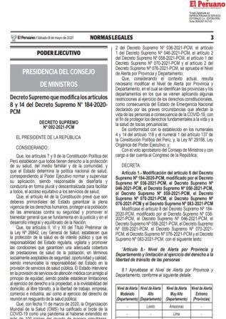 Decreto Supremo N°092-2021-PCM
