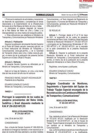 Resolución Ministerial N°374-2021-MTC/01