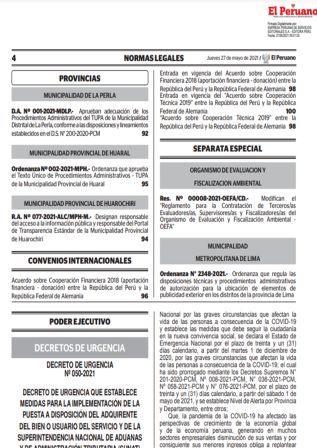 Decreto De Urgencia N°050-2021